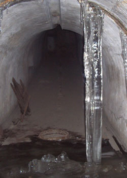 Massive icicles form in the leaking tunnels during winter.