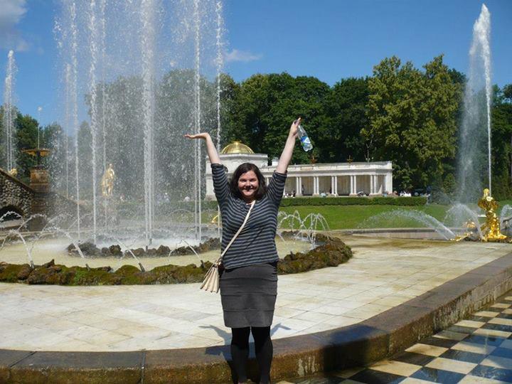 The author at the fountains of Peterhof