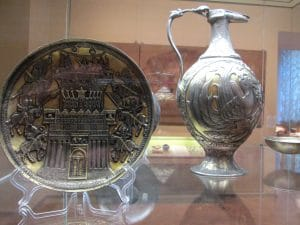 Silverwork excavated along the former route of the Silk Road