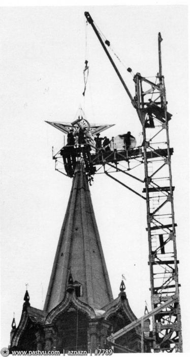 Special cranes were constructed on each tower to attach the stars.