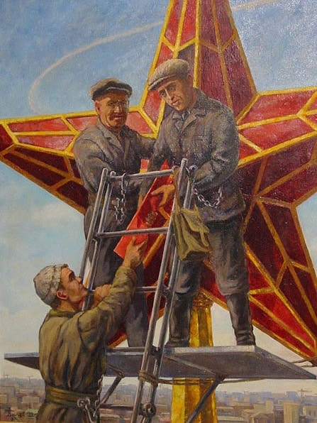 A Soviet-era painting showing workers installing the present-day ruby glass stars.