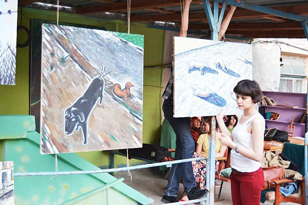 An open-air art show in the Caucasus