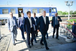 Mayor Sobyanin at the Moscow Ring Railway. Transportation has been one of his stated priorities since the beginning of his tenure as mayor.
