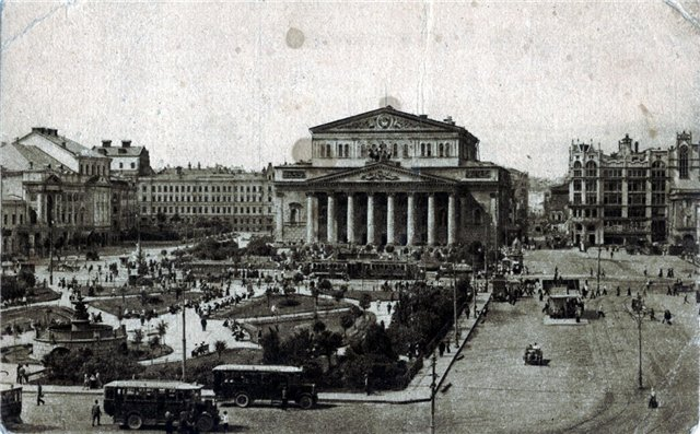 View of Theater Square with the first buses, 1930's. (?)