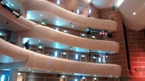 The left flank of the upper-levels facing the stage