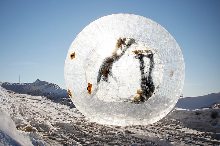 Zorbing is especially popular in Russia.