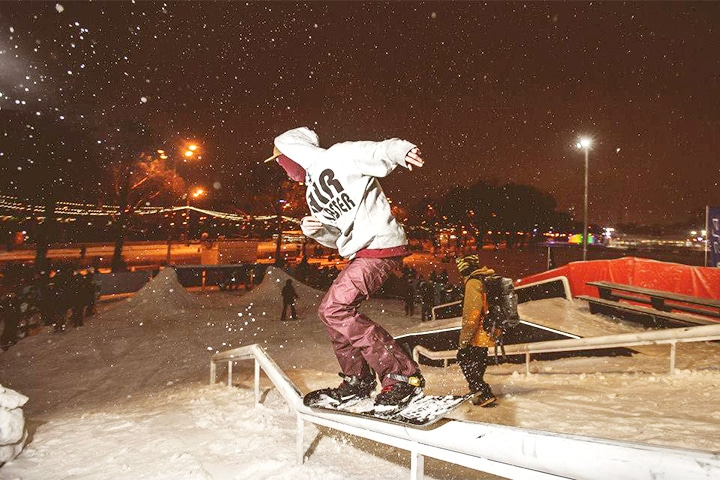 Extreme snowboarding in Gorky Park.
