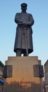 The man himself. Piłsudski gazes across the street (to the west) at the square dedicated to his legacy.
