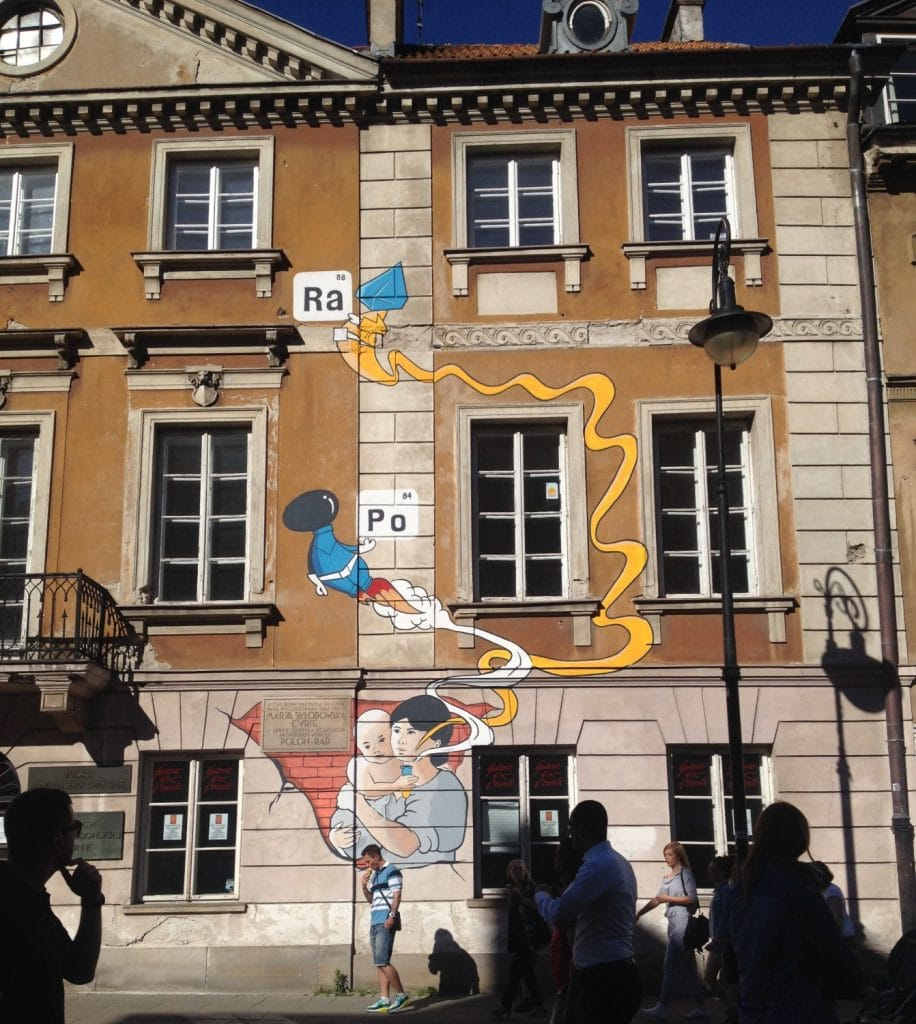 Mural on the side of the Marie Curie museum