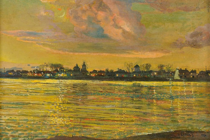 Isaak Brodsky - View of a Town across a River at Night, 1920
