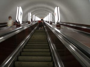 Long Kiev metro escalator