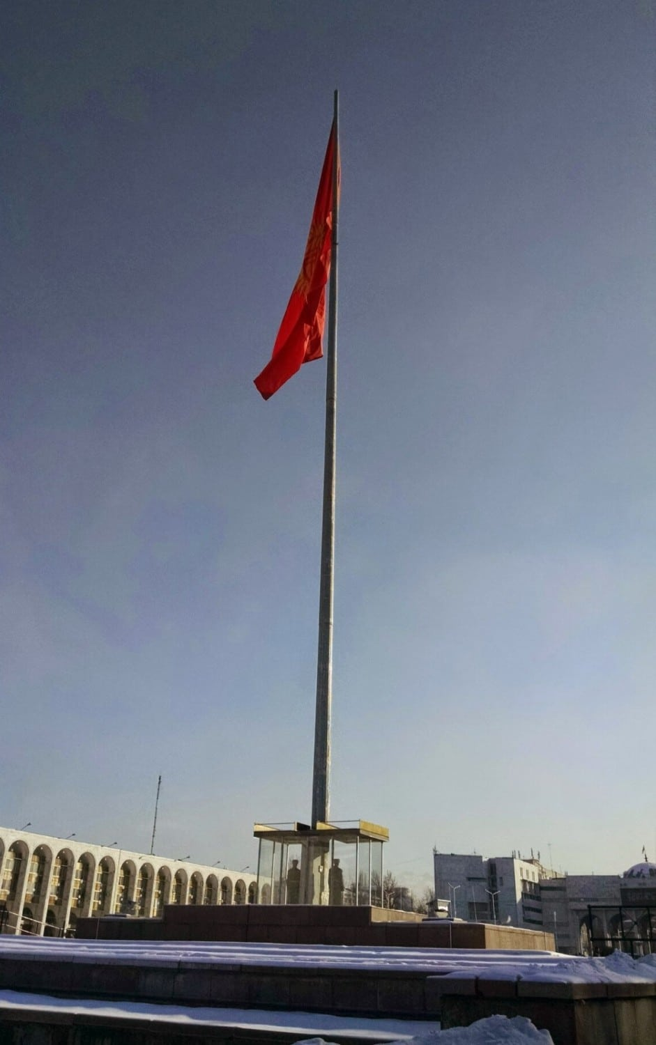 Kyrgyz Flag Flying above Ala-Too Square
