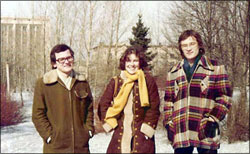 Nora in 1978 with (then future) husband Oleg (left) and friend Niyaz Inogamov taken near MGU, where Oleg and Niyaz were students.