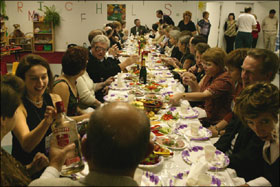 A jolly band of ATA translators at an annual banquet, this time in a Russian day care center in Phoenix, Arizona.