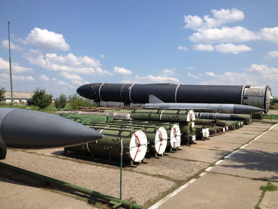 """Some of the many tactical and strategic rockets on display at the museum. The large black one at the end is the notoriously powerful SS-18 """"Satan."""""""