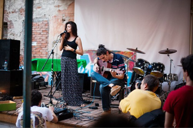 An open air music performance in the Caucasus